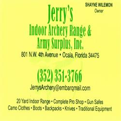 Thanks for sponsoring us, Jerry's Indoor Archery Range & Army Surplus!