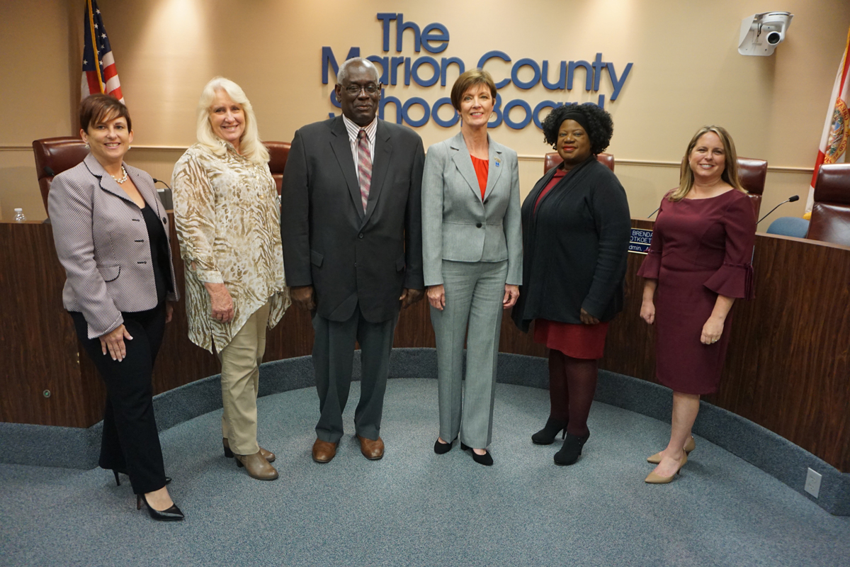 School Board Members Nancy Stacy (District 1), Beth McCall (District 2),  Bobby James (District 3), Angie Boynton (District 4), Kelly King (District 5), and Superintendent Dr. Heidi Maier