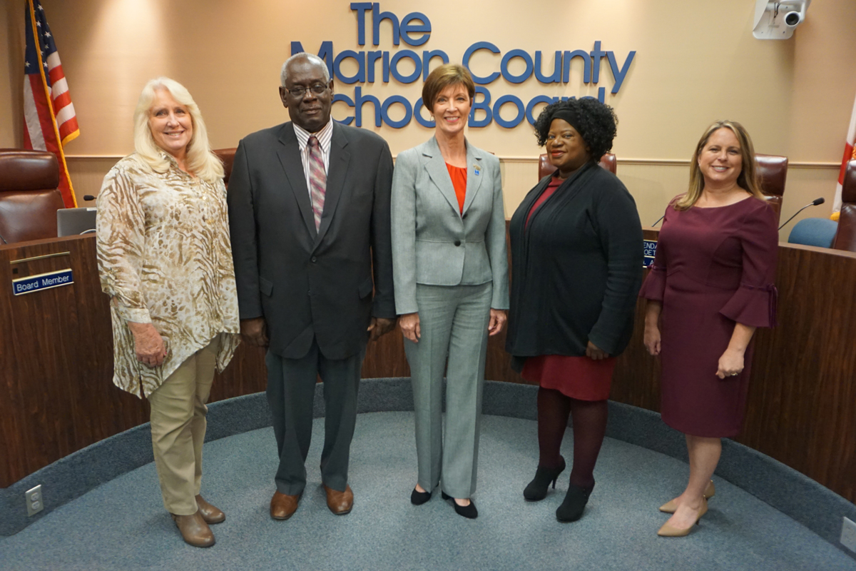 School Board Members Nancy Stacy, Beth McCall (vice-chair), Kelly King (chair), Superintendent Dr. Heidi Maier, Angie Boynton and Bobby James