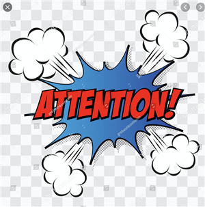 Attention blue clip art