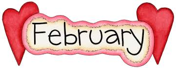 February with Hearts clip art