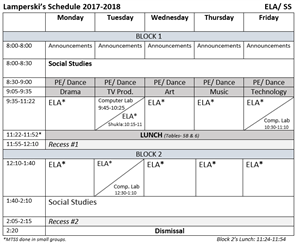 Lamperski's Schedule 2017-2018