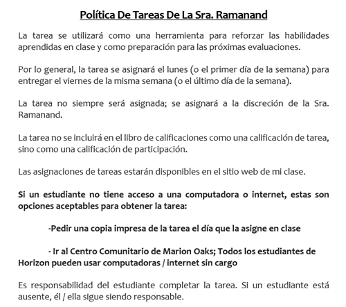 HW Policy in Spanish