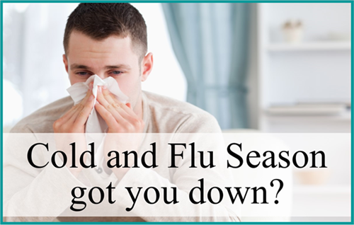 Man blowing nose with caption Cold and Flu Season got you down?
