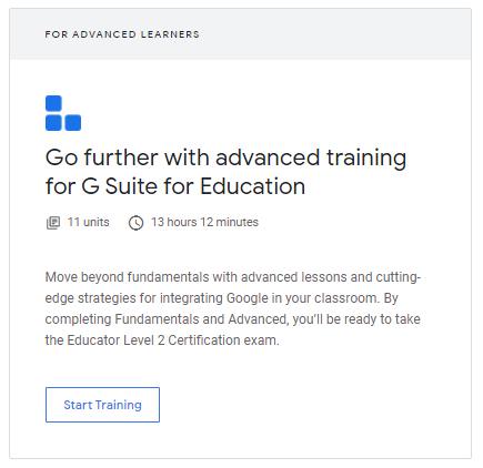 Go Further with Advanced Training for G Suite for Education