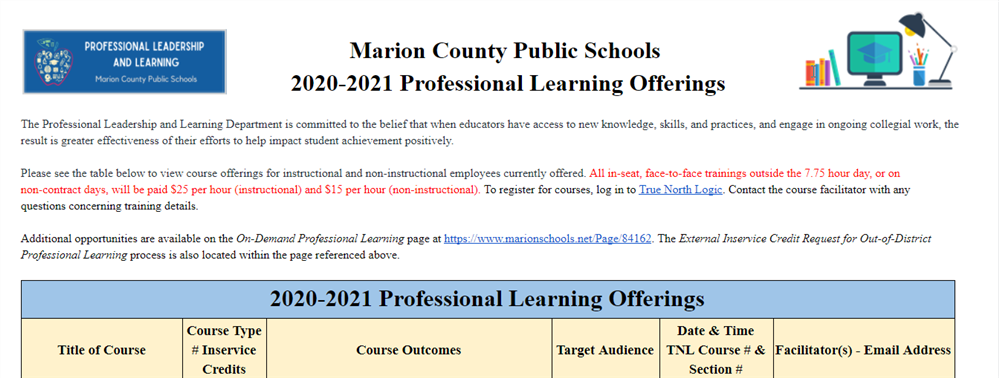 Professional Learning Offerings
