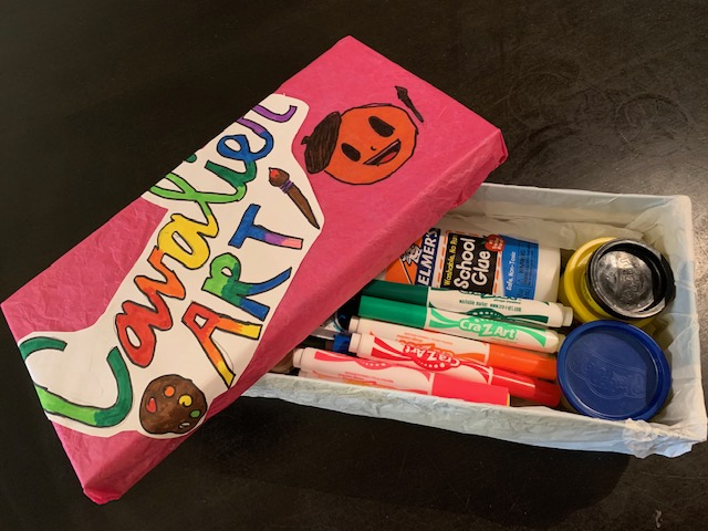 My Art Supply Box.  Did you make one?  Post the picture of your on Artsonia!