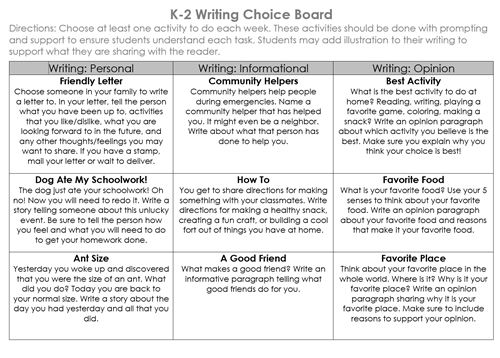 WritingChoiceBoard