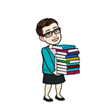 A cartoon image of Mrs. Nash holding a stack of books
