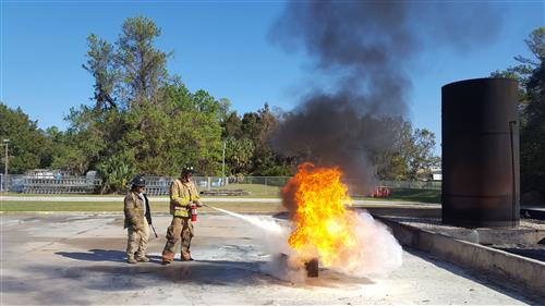 Fire extinguisher training at the Florida State Fire College