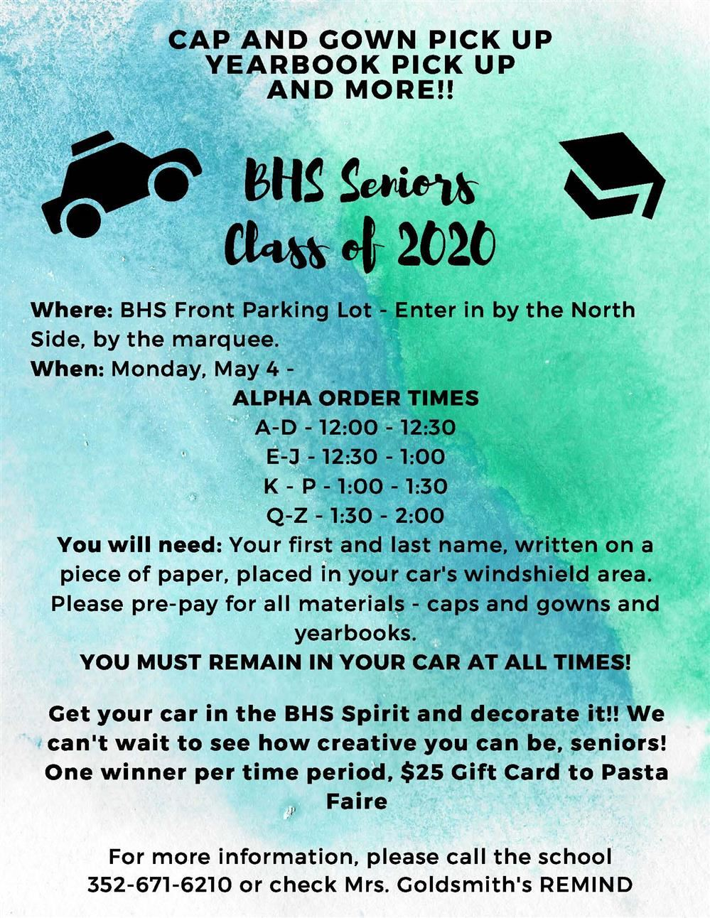 BHS Class of 2020 Information