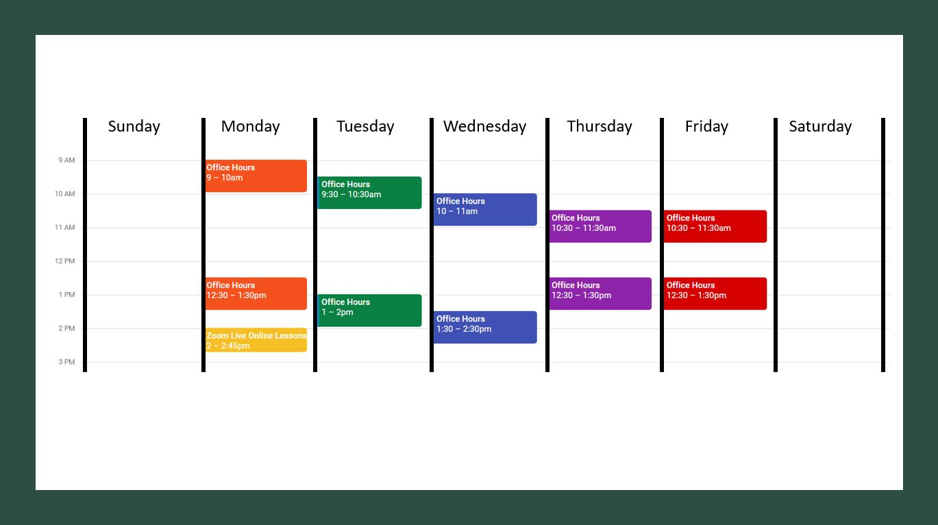 Zoom Lesson and Office Hours Schedule