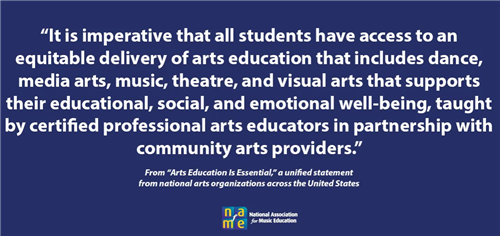 """It is imperative that all students have access to equitable delivery of arts education that includes dance, media arts, musi"