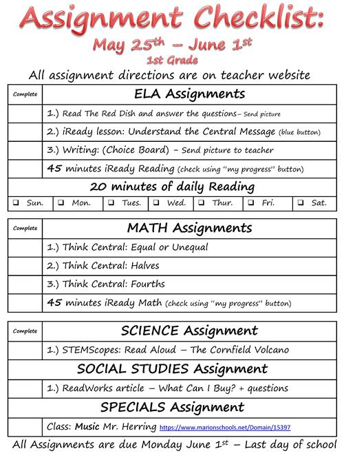 Assignment checklist May 25