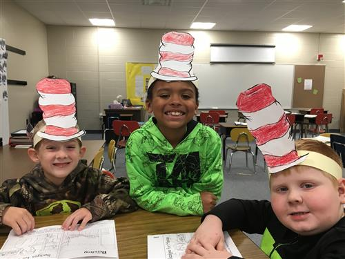 Students enjoying Dr. Suess Day