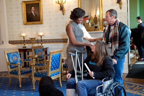 Mr. Olson and Allison Biggs meet the First Lady, Michelle Obama in January 2011