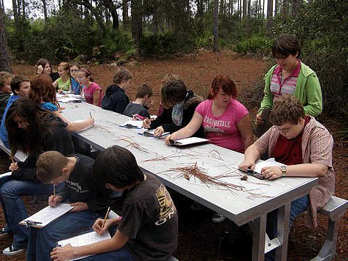 Students on the trail