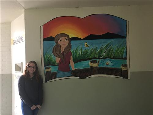 Sydney Gledden, an advanced art student, created this beautiful mural for the Lakeside Library