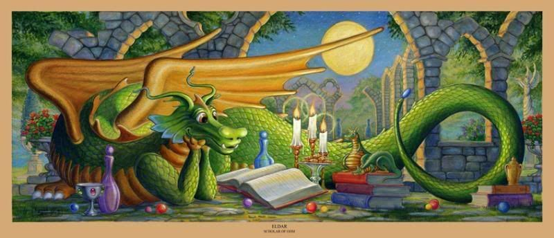 A Green dragon laying on cobbled stones reading a book.