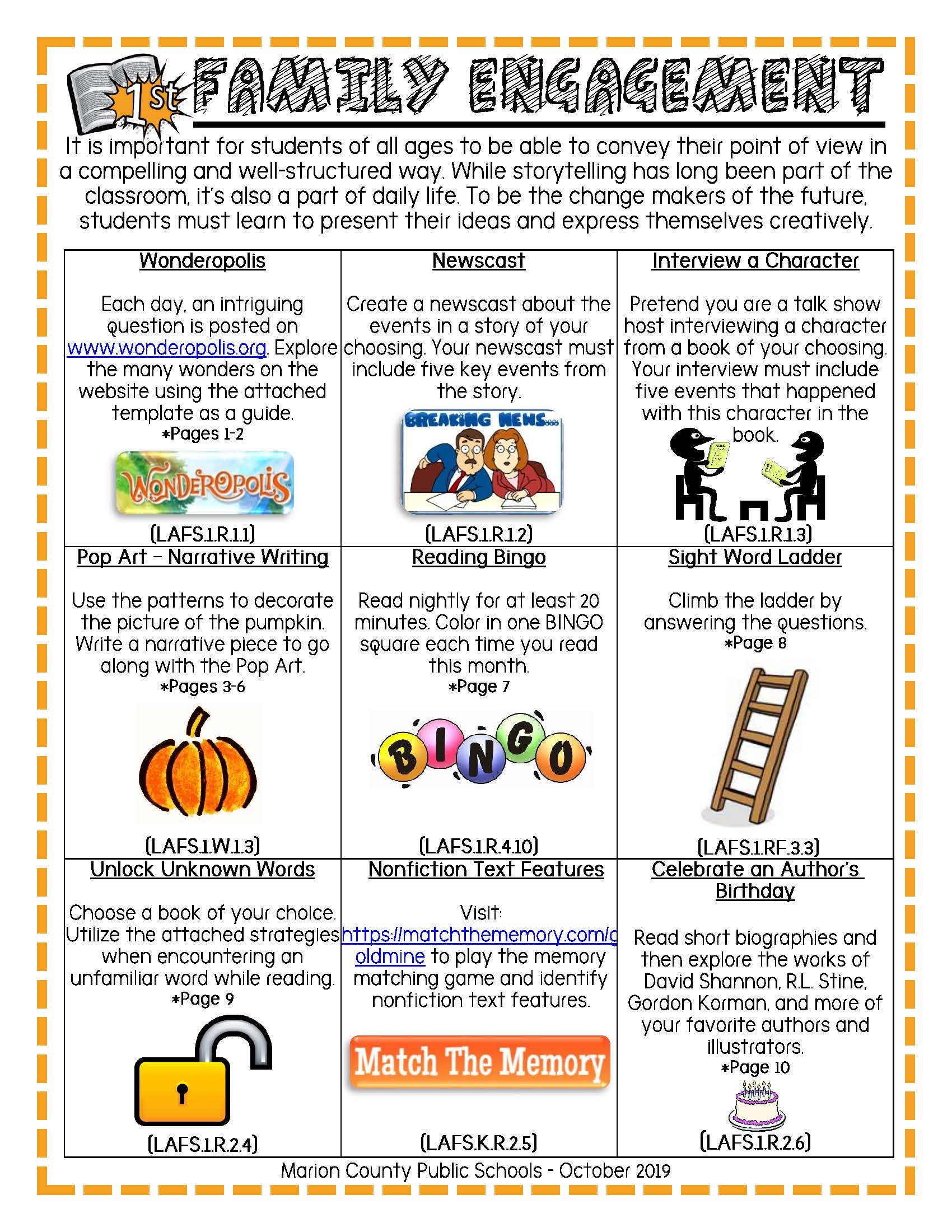 October 2019 - 1st Grade Experiences Beyond the Bell